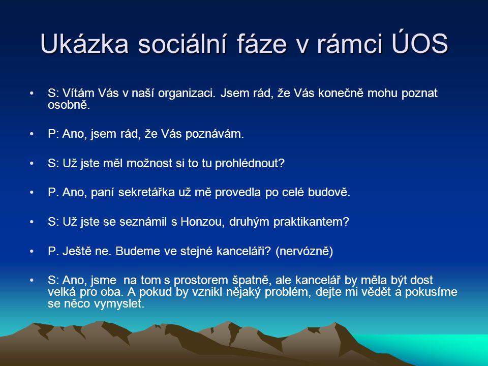 Ukázka sociální fáze v rámci ÚOS S: Vítám Vás v naší organizaci.