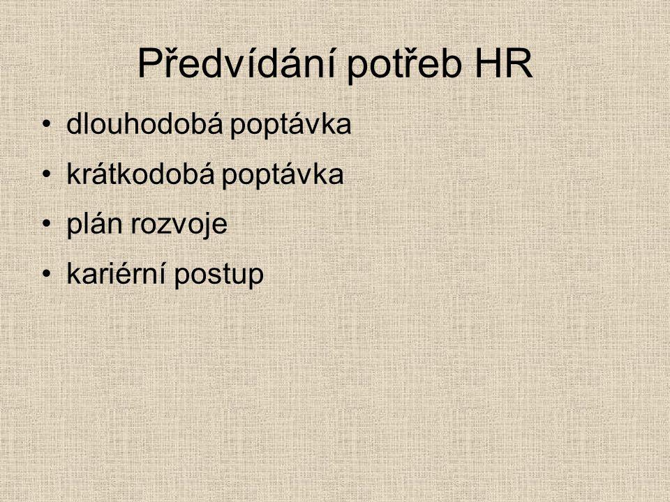 Předvídání potřeb HR dlouhodobá poptávka krátkodobá poptávka plán rozvoje kariérní postup