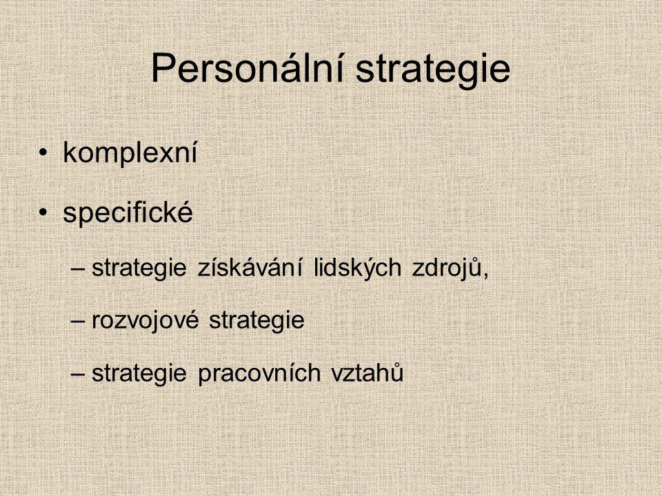 Personální strategie komplexní specifické –strategie získávání lidských zdrojů, –rozvojové strategie –strategie pracovních vztahů