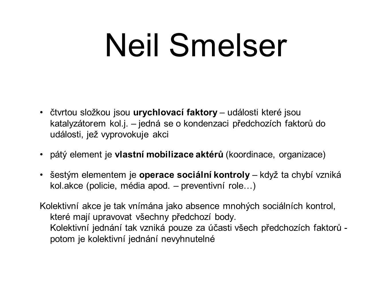 Neil Smelser čtvrtou složkou jsou urychlovací faktory – události které jsou katalyzátorem kol.j.