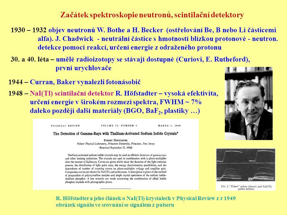30. a 40. léta – umělé radioizotopy se stávají dostupné (Curiovi, E. Rutheford), první urychlovače 1948 – NaI(Tl) scintilační detektor R. Höfstadter –