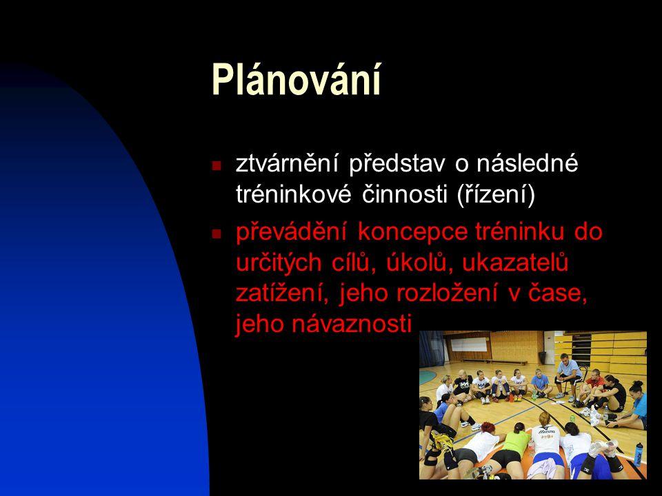 Plánování ztvárnění představ o následné tréninkové činnosti (řízení) převádění koncepce tréninku do určitých cílů, úkolů, ukazatelů zatížení, jeho roz
