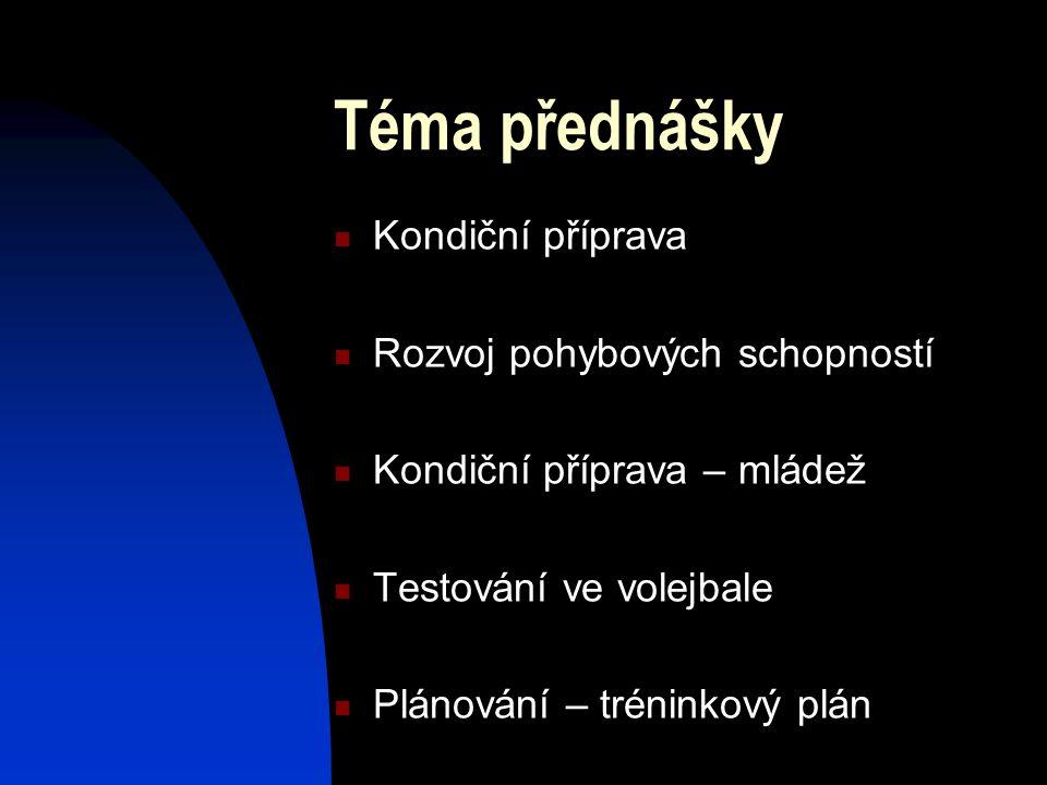 Téma přednášky Kondiční příprava Rozvoj pohybových schopností Kondiční příprava – mládež Testování ve volejbale Plánování – tréninkový plán