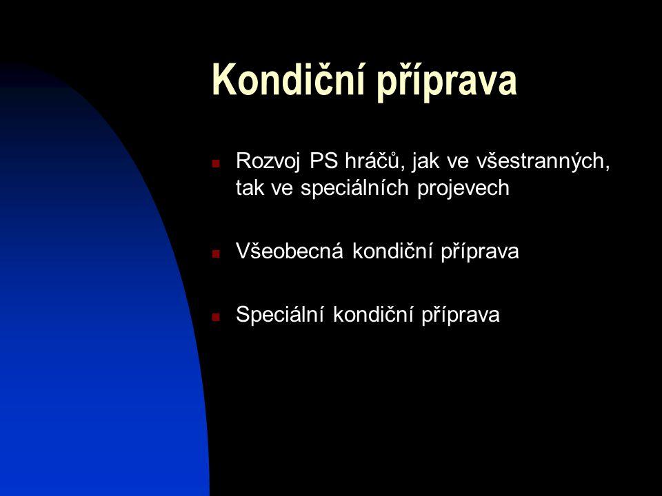 Kondiční příprava Rozvoj PS hráčů, jak ve všestranných, tak ve speciálních projevech Všeobecná kondiční příprava Speciální kondiční příprava