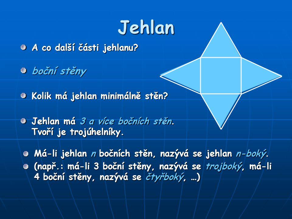 Jehlan Jehlan má 3 a více bočních stěn. Tvoří je trojúhelníky. A co další části jehlanu? boční stěny Kolik má jehlan minimálně stěn? Má-li jehlan n bo