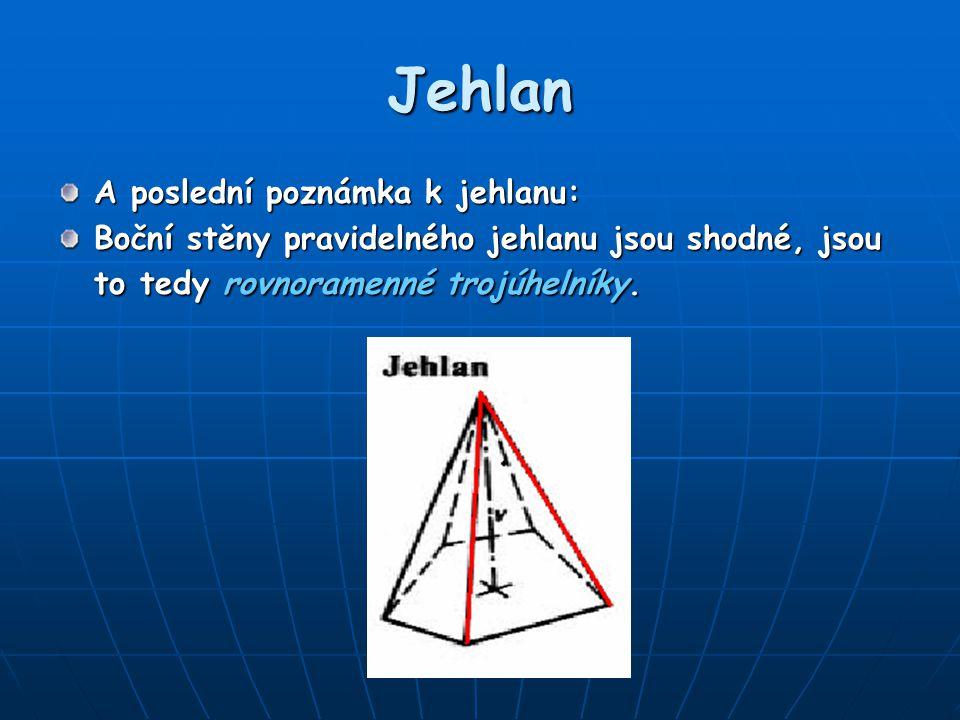 Jehlan A poslední poznámka k jehlanu: Boční stěny pravidelného jehlanu jsou shodné, jsou to tedy rovnoramenné trojúhelníky.