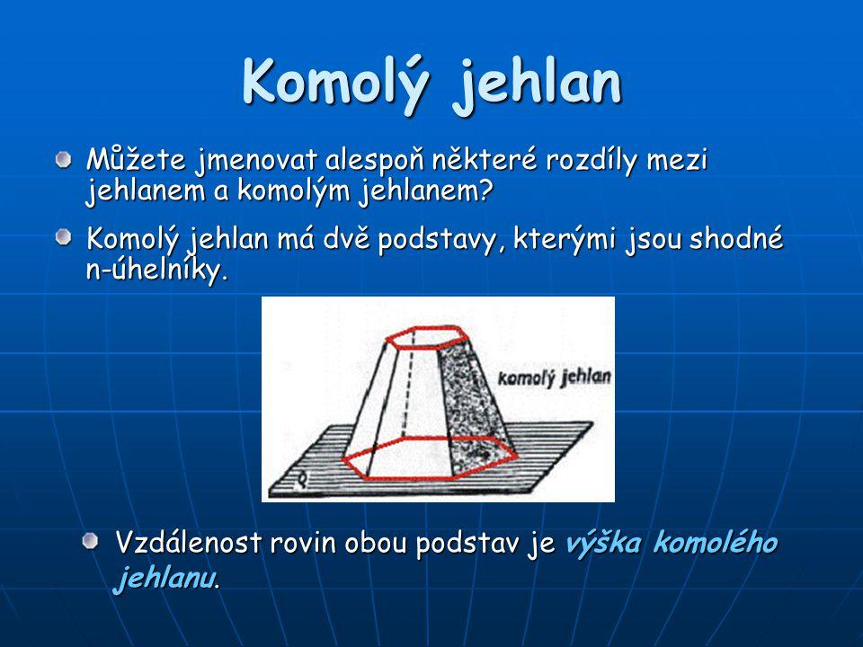 Komolý jehlan Můžete jmenovat alespoň některé rozdíly mezi jehlanem a komolým jehlanem? Komolý jehlan má dvě podstavy, kterými jsou shodné n-úhelníky.