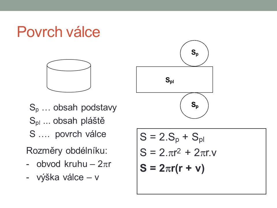 Povrch válce S p … obsah podstavy S pl... obsah pláště S …. povrch válce S = 2.S p + S pl S = 2.  r 2 + 2  r.v S = 2  r(r  + v) Rozměry obdélníku: