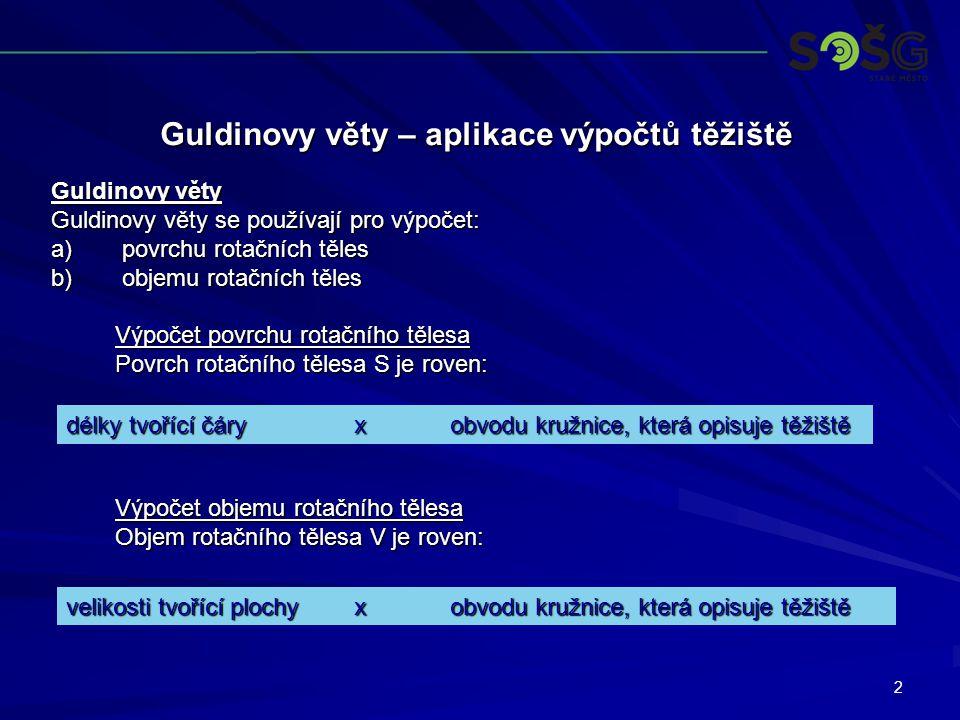 2 Guldinovy věty – aplikace výpočtů těžiště Guldinovy věty Guldinovy věty se používají pro výpočet: a) povrchu rotačních těles b) objemu rotačních těl