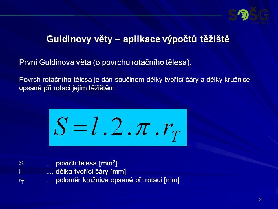 3 Guldinovy věty – aplikace výpočtů těžiště První Guldinova věta (o povrchu rotačního tělesa): Povrch rotačního tělesa je dán součinem délky tvořící čáry a délky kružnice opsané při rotaci jejím těžištěm: S… povrch tělesa [mm 2 ] l… délka tvořící čáry [mm] r T … poloměr kružnice opsané při rotaci [mm]