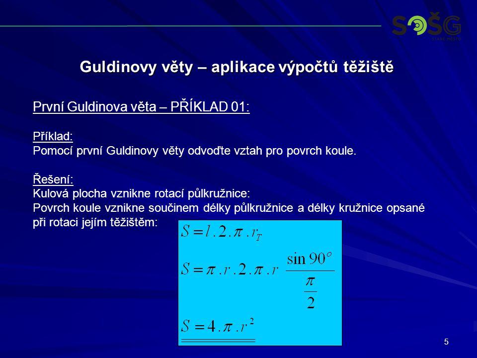 5 Guldinovy věty – aplikace výpočtů těžiště První Guldinova věta – PŘÍKLAD 01: Příklad: Pomocí první Guldinovy věty odvoďte vztah pro povrch koule.