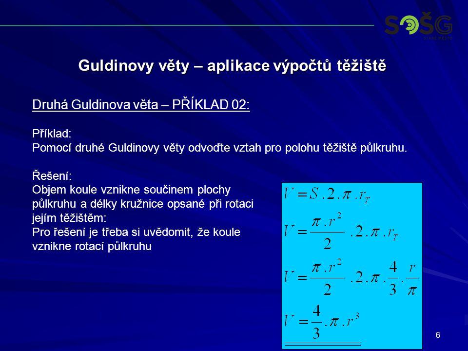6 Guldinovy věty – aplikace výpočtů těžiště Druhá Guldinova věta – PŘÍKLAD 02: Příklad: Pomocí druhé Guldinovy věty odvoďte vztah pro polohu těžiště půlkruhu.