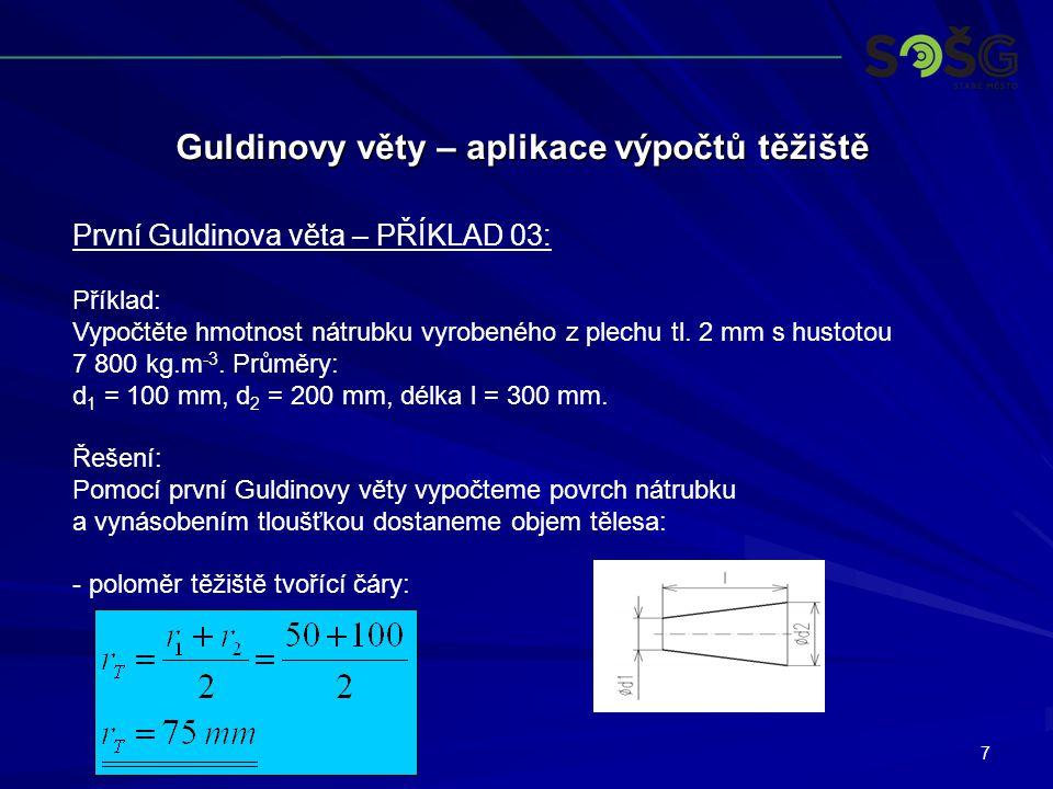 7 Guldinovy věty – aplikace výpočtů těžiště První Guldinova věta – PŘÍKLAD 03: Příklad: Vypočtěte hmotnost nátrubku vyrobeného z plechu tl. 2 mm s hus