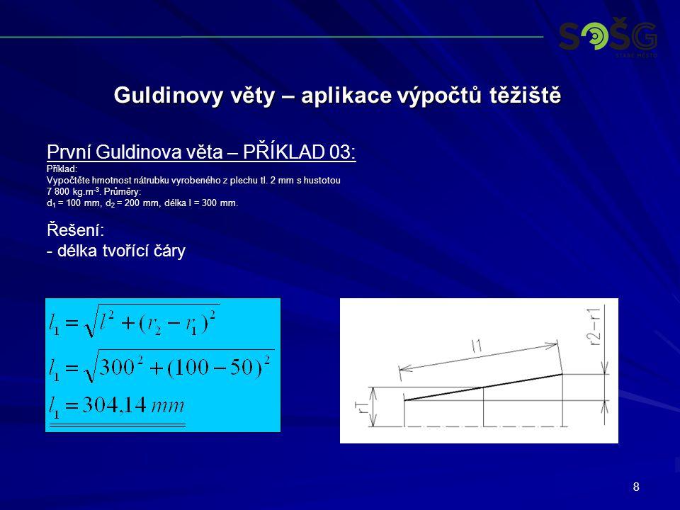 8 Guldinovy věty – aplikace výpočtů těžiště První Guldinova věta – PŘÍKLAD 03: Příklad: Vypočtěte hmotnost nátrubku vyrobeného z plechu tl. 2 mm s hus