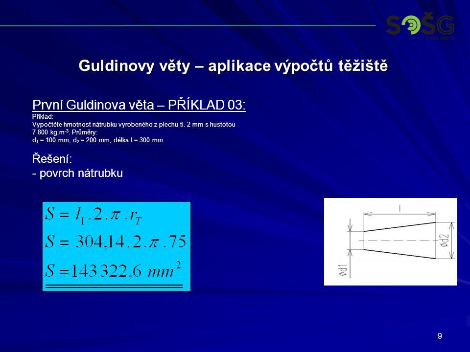 9 Guldinovy věty – aplikace výpočtů těžiště První Guldinova věta – PŘÍKLAD 03: Příklad: Vypočtěte hmotnost nátrubku vyrobeného z plechu tl. 2 mm s hus