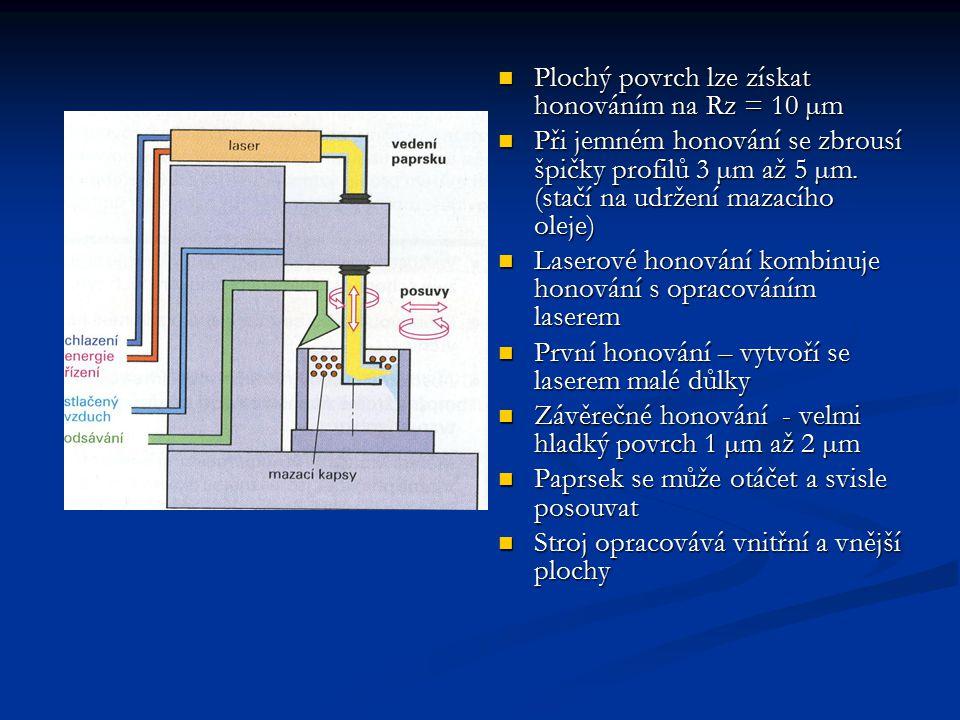 Plochý povrch lze získat honováním na Rz = 10 µm Plochý povrch lze získat honováním na Rz = 10 µm Při jemném honování se zbrousí špičky profilů 3 µm až 5 µm.