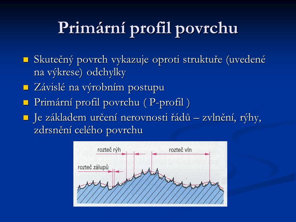 Primární profil povrchu Skutečný povrch vykazuje oproti struktuře (uvedené na výkrese) odchylky Skutečný povrch vykazuje oproti struktuře (uvedené na výkrese) odchylky Závislé na výrobním postupu Závislé na výrobním postupu Primární profil povrchu ( P-profil ) Primární profil povrchu ( P-profil ) Je základem určení nerovnosti řádů – zvlnění, rýhy, zdrsnění celého povrchu Je základem určení nerovnosti řádů – zvlnění, rýhy, zdrsnění celého povrchu
