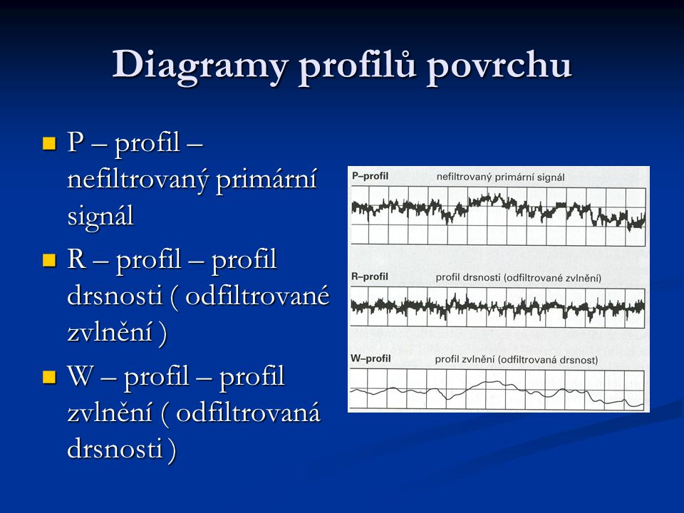 Diagramy profilů povrchu P – profil – nefiltrovaný primární signál P – profil – nefiltrovaný primární signál R – profil – profil drsnosti ( odfiltrované zvlnění ) R – profil – profil drsnosti ( odfiltrované zvlnění ) W – profil – profil zvlnění ( odfiltrovaná drsnosti ) W – profil – profil zvlnění ( odfiltrovaná drsnosti )