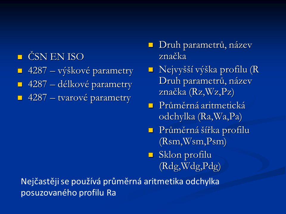 ČSN EN ISO ČSN EN ISO 4287 – výškové parametry 4287 – výškové parametry 4287 – délkové parametry 4287 – délkové parametry 4287 – tvarové parametry 4287 – tvarové parametry Druh parametrů, název značka Druh parametrů, název značka Nejvyšší výška profilu (R Druh parametrů, název značka (Rz,Wz,Pz) Nejvyšší výška profilu (R Druh parametrů, název značka (Rz,Wz,Pz) Průměrná aritmetická odchylka (Ra,Wa,Pa) Průměrná aritmetická odchylka (Ra,Wa,Pa) Průměrná šířka profilu (Rsm,Wsm,Psm) Průměrná šířka profilu (Rsm,Wsm,Psm) Sklon profilu (Rdg,Wdg,Pdg) Sklon profilu (Rdg,Wdg,Pdg) Nejčastěji se používá průměrná aritmetika odchylka posuzovaného profilu Ra