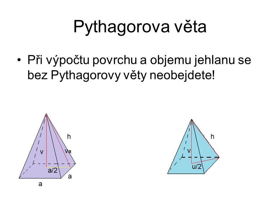 Pythagorova věta Při výpočtu povrchu a objemu jehlanu se bez Pythagorovy věty neobejdete! h a vava v a h v u/2 a/2