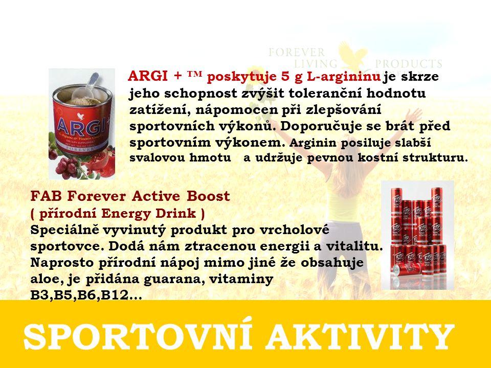 SPORTOVNÍ AKTIVITY ARGI + ™ poskytuje 5 g L-argininu je skrze jeho schopnost zvýšit toleranční hodnotu zatížení, nápomocen při zlepšování sportovních výkonů.