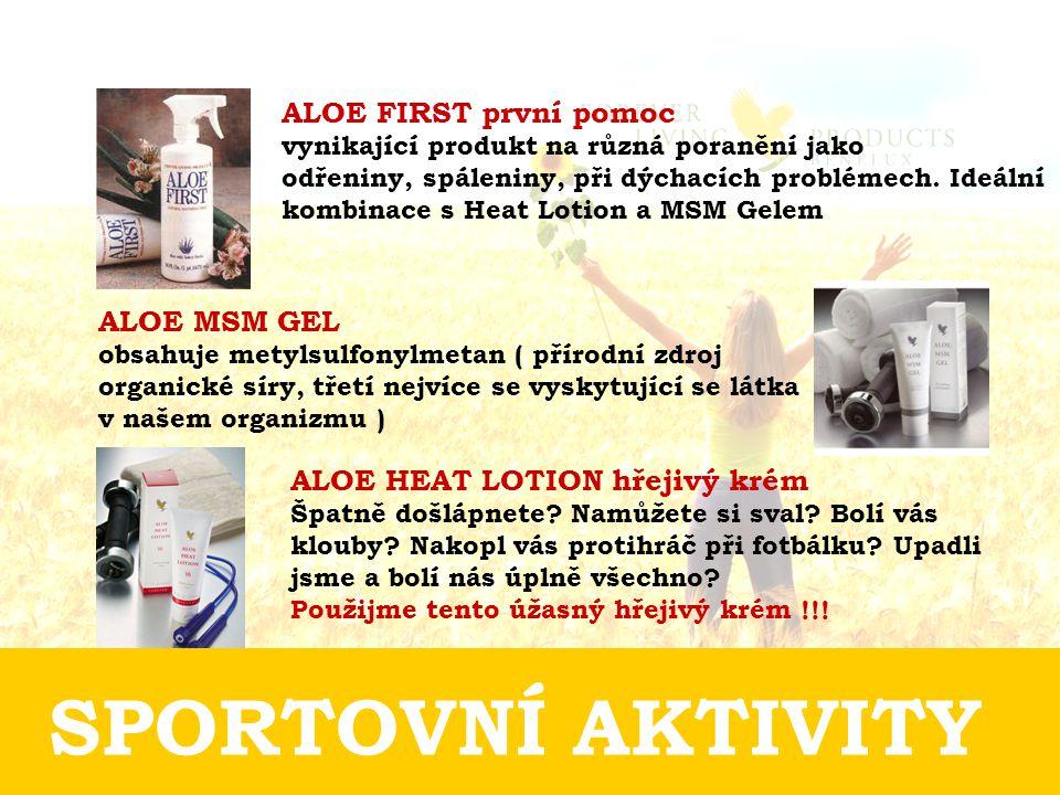 SPORTOVNÍ AKTIVITY ALOE FIRST první pomoc vynikající produkt na různá poranění jako odřeniny, spáleniny, při dýchacích problémech.