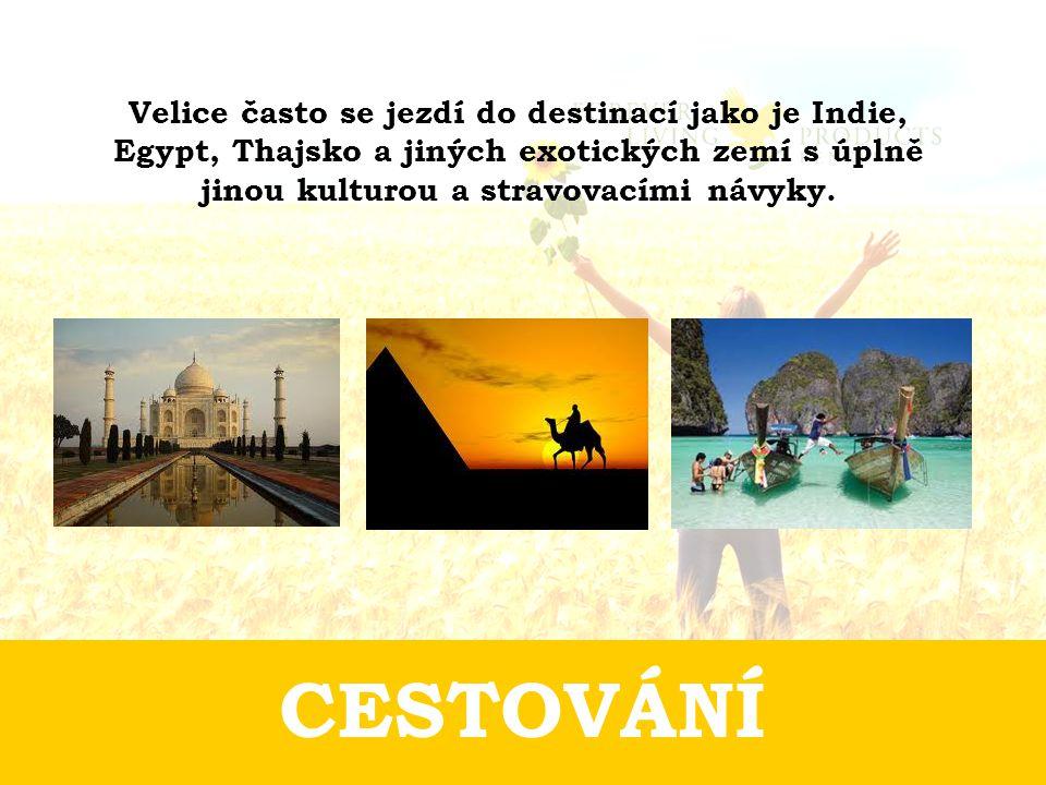 CESTOVÁNÍ Velice často se jezdí do destinací jako je Indie, Egypt, Thajsko a jiných exotických zemí s úplně jinou kulturou a stravovacími návyky.