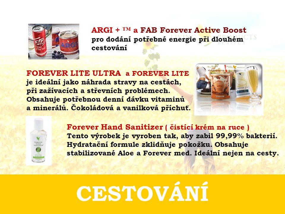 CESTOVÁNÍ Forever Hand Sanitizer ( čistící krém na ruce ) Tento výrobek je vyroben tak, aby zabil 99,99% bakterií. Hydratační formule zklidňuje pokožk