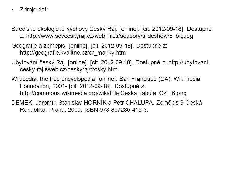 Zdroje dat: Středisko ekologické výchovy Český Ráj. [online]. [cit. 2012-09-18]. Dostupné z: http://www.sevceskyraj.cz/web_files/soubory/slideshow/8_b