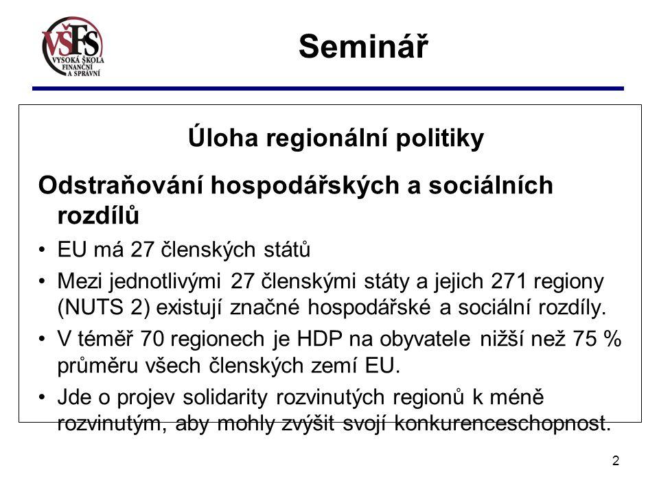 2 Úloha regionální politiky Odstraňování hospodářských a sociálních rozdílů EU má 27 členských států Mezi jednotlivými 27 členskými státy a jejich 271