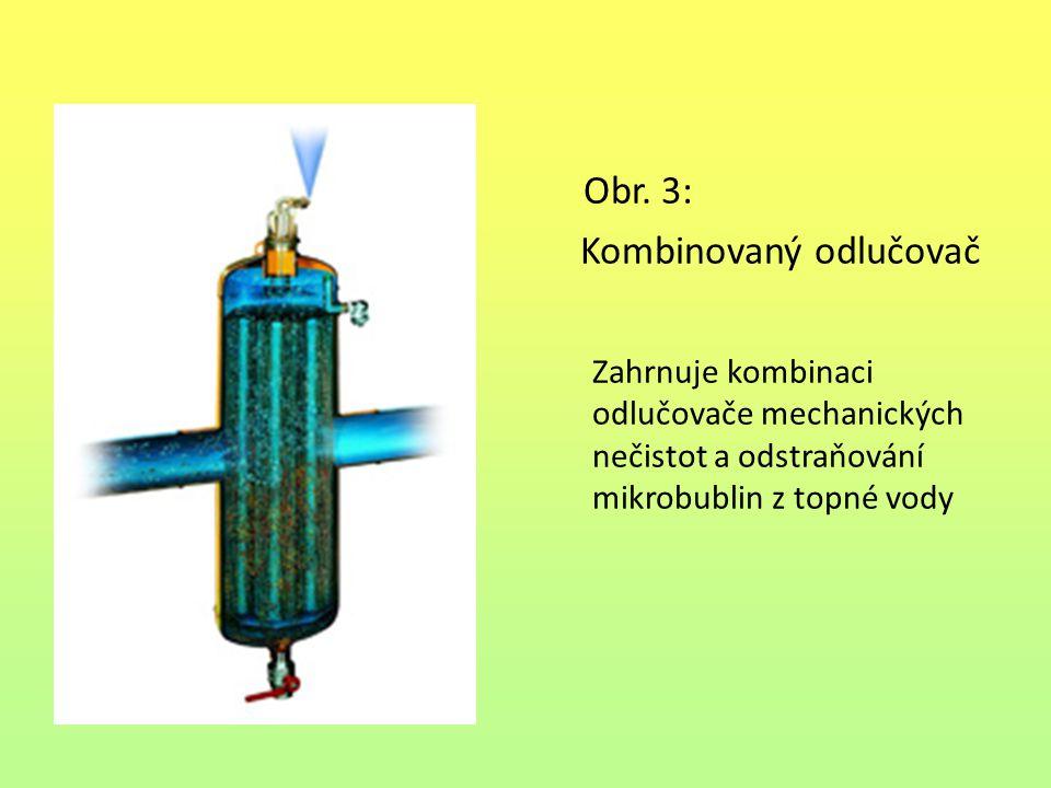 Obr. 3: Kombinovaný odlučovač Zahrnuje kombinaci odlučovače mechanických nečistot a odstraňování mikrobublin z topné vody