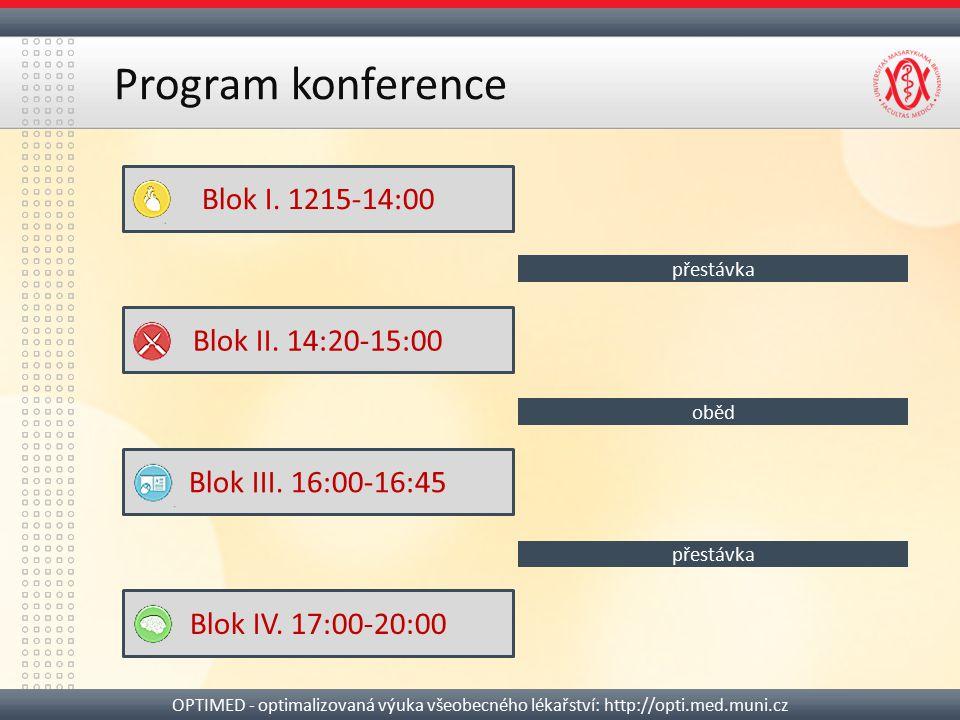 Program konference OPTIMED - optimalizovaná výuka všeobecného lékařství: http://opti.med.muni.cz Blok I. 1215-14:00 Blok II. 14:20-15:00 Blok III. 16: