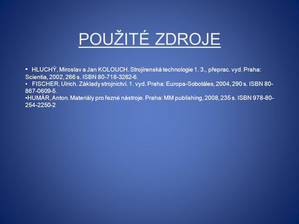 POUŽITÉ ZDROJE HLUCHÝ, Miroslav a Jan KOLOUCH. Strojírenská technologie 1. 3., přeprac. vyd. Praha: Scientia, 2002, 266 s. ISBN 80-718-3262-6. FISCHER