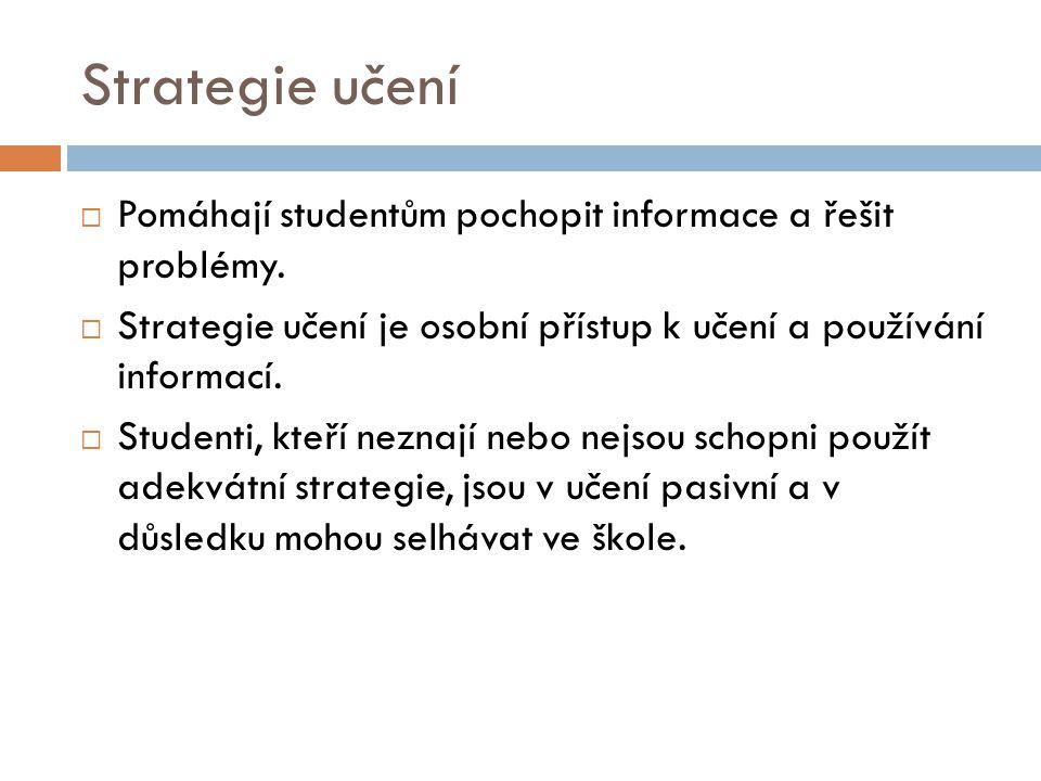 Strategie učení  Pomáhají studentům pochopit informace a řešit problémy.  Strategie učení je osobní přístup k učení a používání informací.  Student