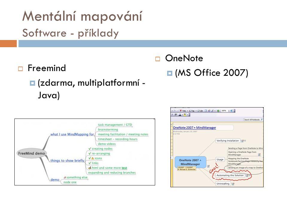 Mentální mapování Software - příklady  Freemind  (zdarma, multiplatformní - Java)  OneNote  (MS Office 2007)