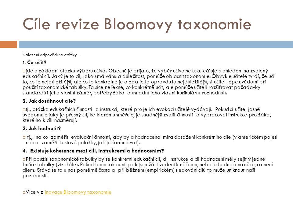 Cíle revize Bloomovy taxonomie Nalezení odpovědi na otázky : 1. Co učit?  jde o základní otázku výběru učiva. Obecně je přijato, že výběr učiva se us