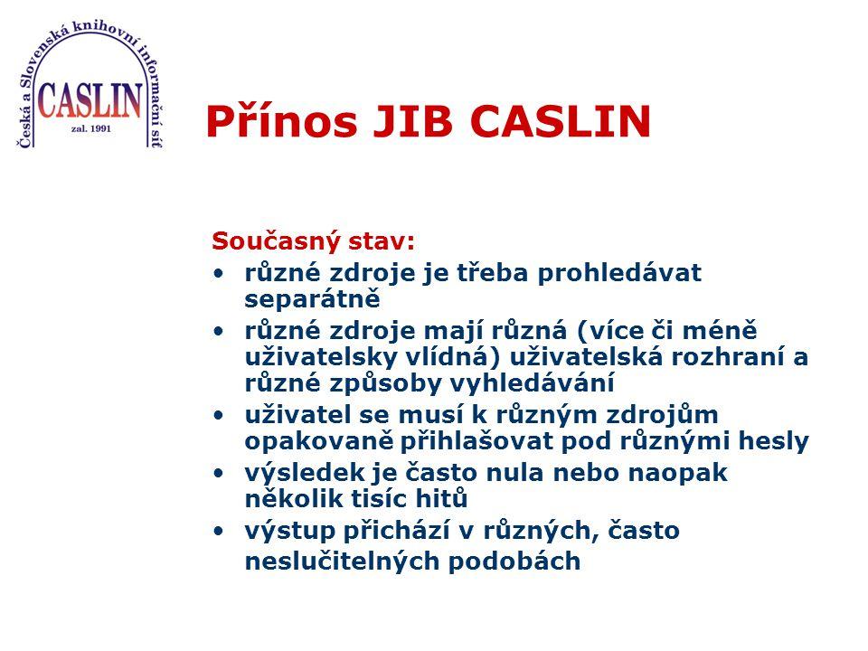 Přínos JIB CASLIN Cílový stav: dochází k souběžnému zpřístupnění sekundárních informací o dokumentech i vlastních primárních dokumentů (integrace plných textů) všechny zdroje jsou zpřístupněny v jediném, uživatelsky vlídném rozhraní, způsob vyhledávání je jednotný uživatel se nemusí opakovaně přihlašovat pod různými hesly.