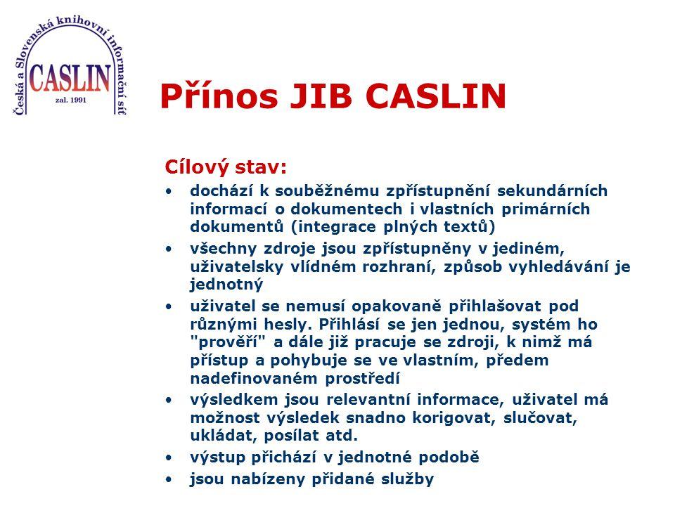 """Budoucnost JIB CASLIN do konce roku 2002 téměř všechny """"hlavní české knihovny (NK, MZK, KNAV, krajské knihovny, ústřední odborné knihovny, souborné katalogy universit) účast dalších českých i slovenských knihoven vítána (CASLIN, KOLIN?)"""