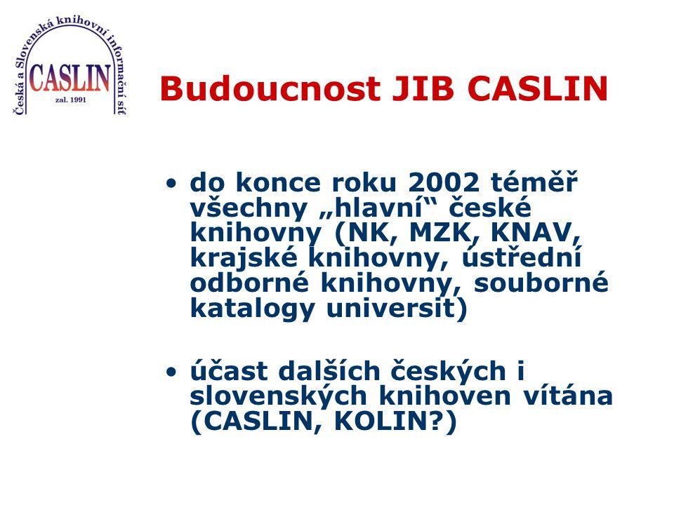 JIB CASLIN a jeho složky MetaLib (nástroj pro základní vyhledávání v heterogenních informačních zdrojích) SFX ( nástroj, který soustřeďuje na jednom místě nabídku všech relevantních souvisejících přidaných služeb)