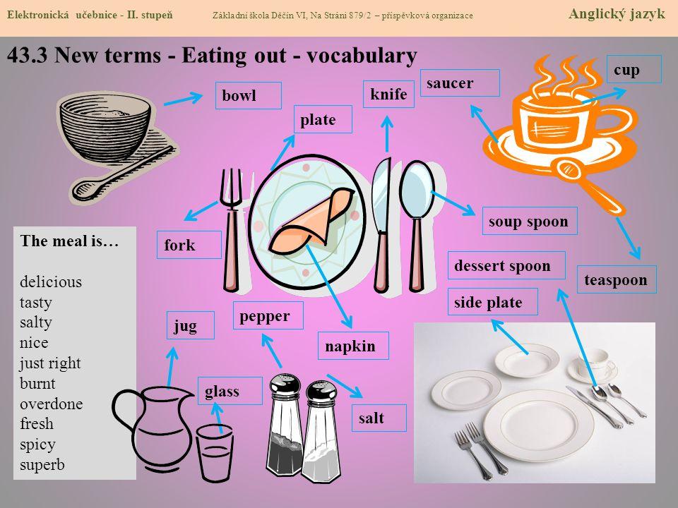 43.3 New terms - Eating out - vocabulary Elektronická učebnice - II. stupeň Základní škola Děčín VI, Na Stráni 879/2 – příspěvková organizace Anglický