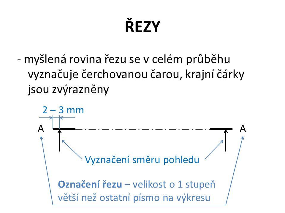 ŘEZY - myšlená rovina řezu se v celém průběhu vyznačuje čerchovanou čarou, krajní čárky jsou zvýrazněny AA Vyznačení směru pohledu 2 – 3 mm Označení ř