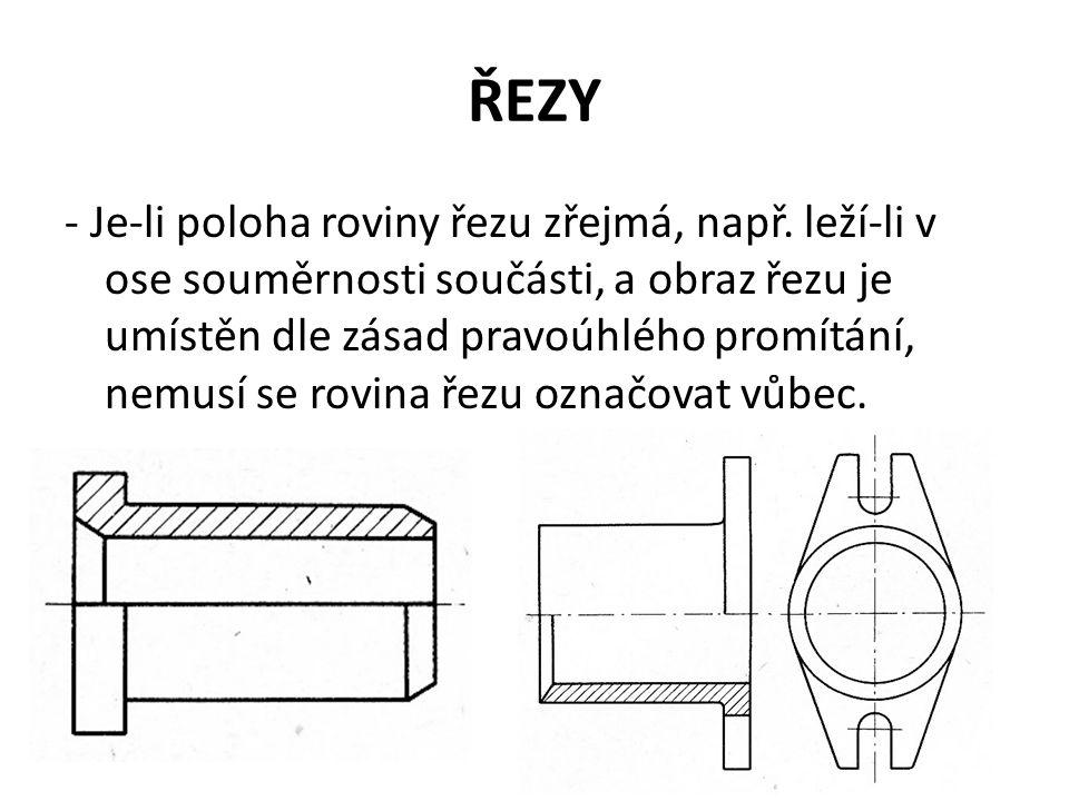 ŘEZY - Je-li poloha roviny řezu zřejmá, např. leží-li v ose souměrnosti součásti, a obraz řezu je umístěn dle zásad pravoúhlého promítání, nemusí se r