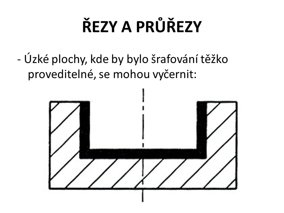 ŘEZY A PRŮŘEZY - Úzké plochy, kde by bylo šrafování těžko proveditelné, se mohou vyčernit: