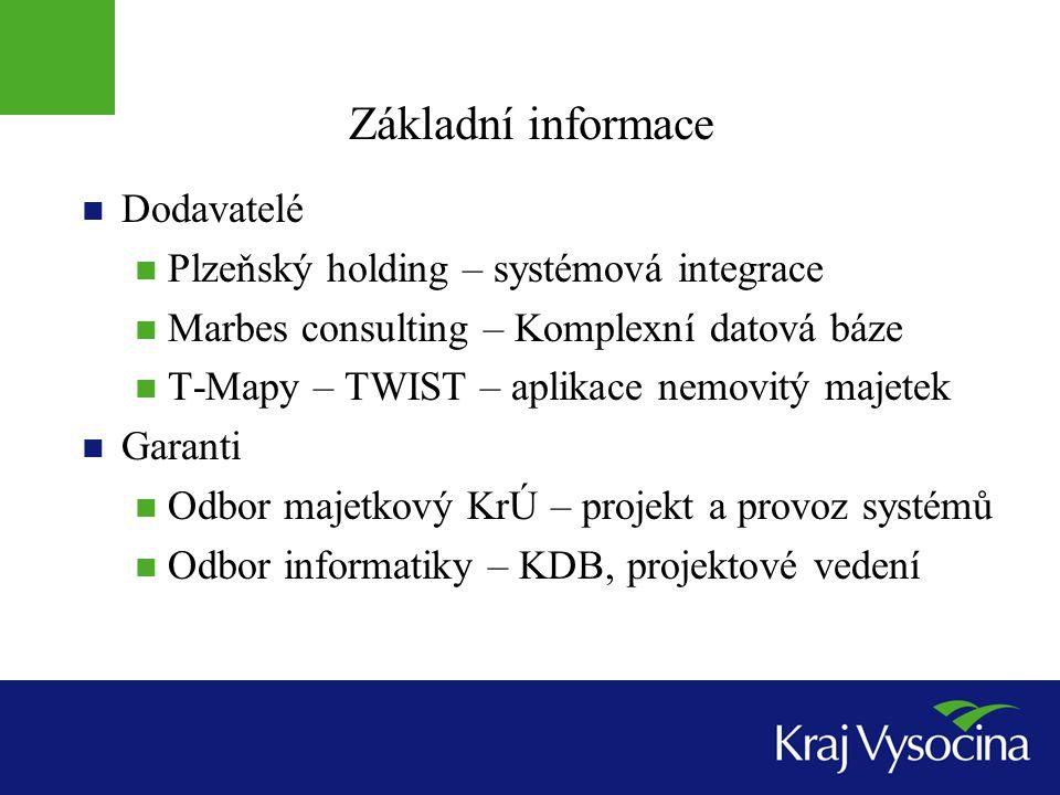 Základní informace Dodavatelé Plzeňský holding – systémová integrace Marbes consulting – Komplexní datová báze T-Mapy – TWIST – aplikace nemovitý maje