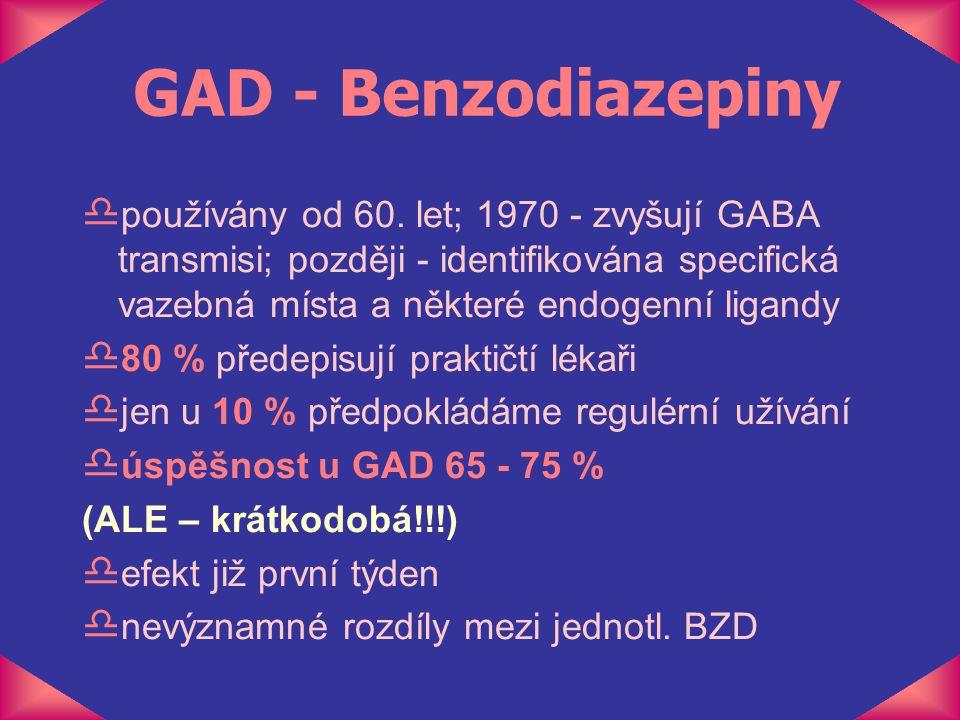 GAD - Benzodiazepiny d používány od 60. let; 1970 - zvyšují GABA transmisi; později - identifikována specifická vazebná místa a některé endogenní liga