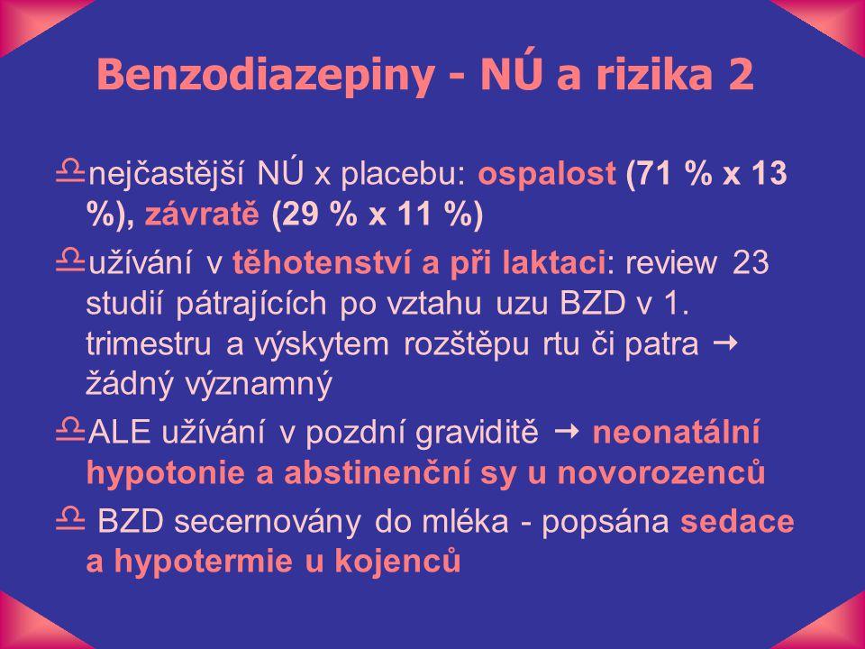 Benzodiazepiny - NÚ a rizika 2 d nejčastější NÚ x placebu: ospalost (71 % x 13 %), závratě (29 % x 11 %) d užívání v těhotenství a při laktaci: review