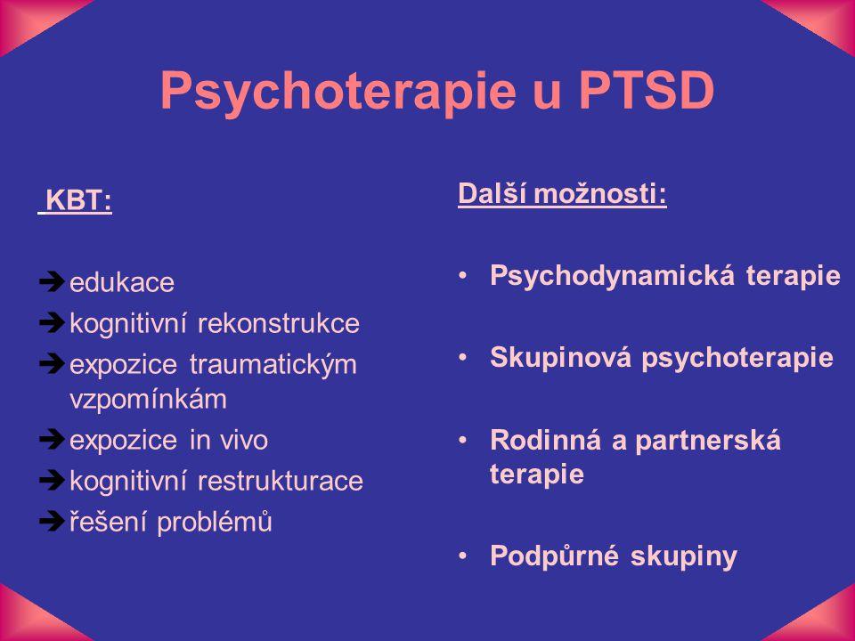 Psychoterapie u PTSD KBT: èedukace èkognitivní rekonstrukce èexpozice traumatickým vzpomínkám èexpozice in vivo èkognitivní restrukturace èřešení prob