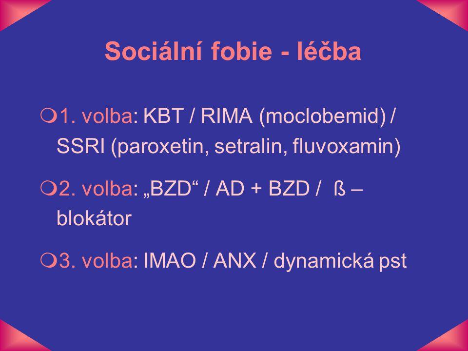 "m1. volba: KBT / RIMA (moclobemid) / SSRI (paroxetin, setralin, fluvoxamin) m2. volba: ""BZD"" / AD + BZD / ß – blokátor m3. volba: IMAO / ANX / dynamic"