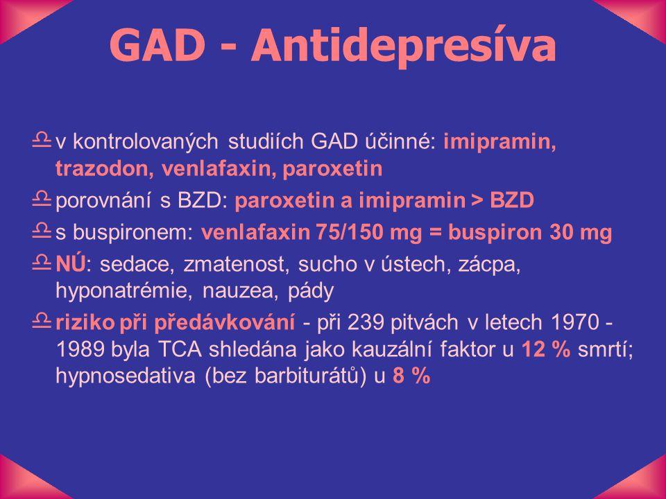 GAD - Antidepresíva d v kontrolovaných studiích GAD účinné: imipramin, trazodon, venlafaxin, paroxetin d porovnání s BZD: paroxetin a imipramin > BZD