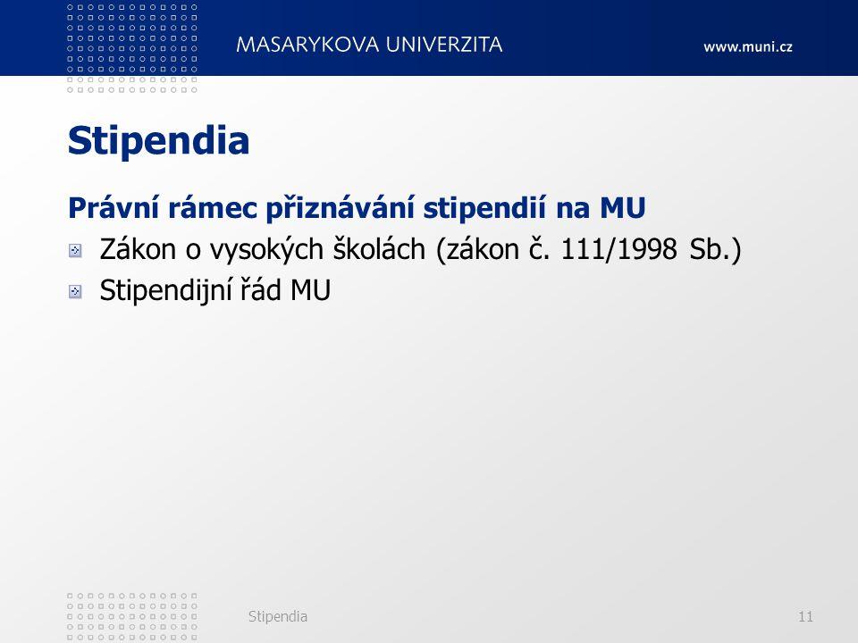 Stipendia11 Stipendia Právní rámec přiznávání stipendií na MU Zákon o vysokých školách (zákon č. 111/1998 Sb.) Stipendijní řád MU